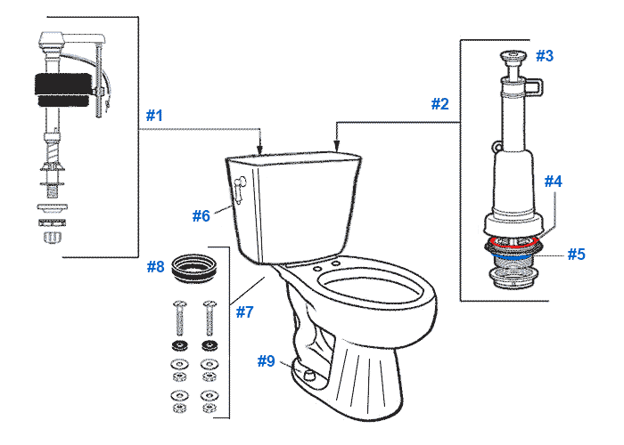 Parts diagram for Mansfield two-piece 1.6gpf Romanesque toilets