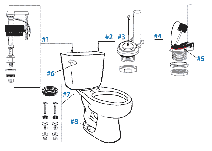 Parts diagram for Mansfield two-piece standard flush Summit toilets