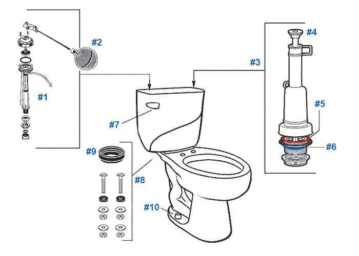 Mansfield Wave Toilet Replacement Parts