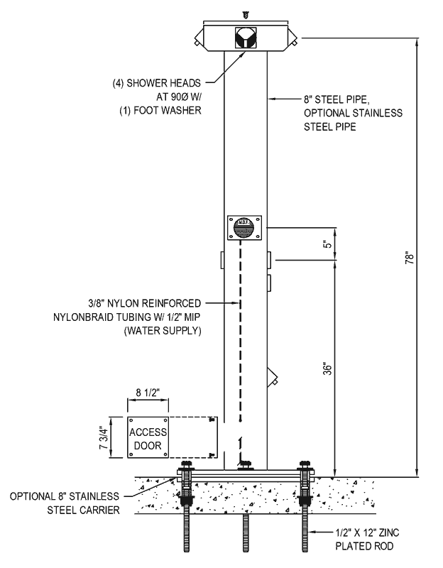 click here for quad foot and shower tower dimensions