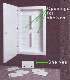 Each horizontal line inside the cabinet is a slot for a shelf.