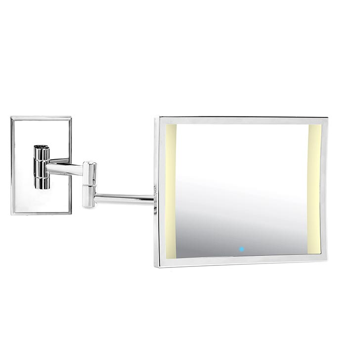 An Image Of The Miroir Brot Azur Bd Double Arm Mirror With Led Light Double Arm
