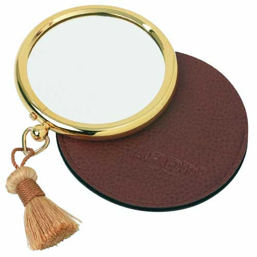 Small round double sided travel mirror in 24 carot gold finish