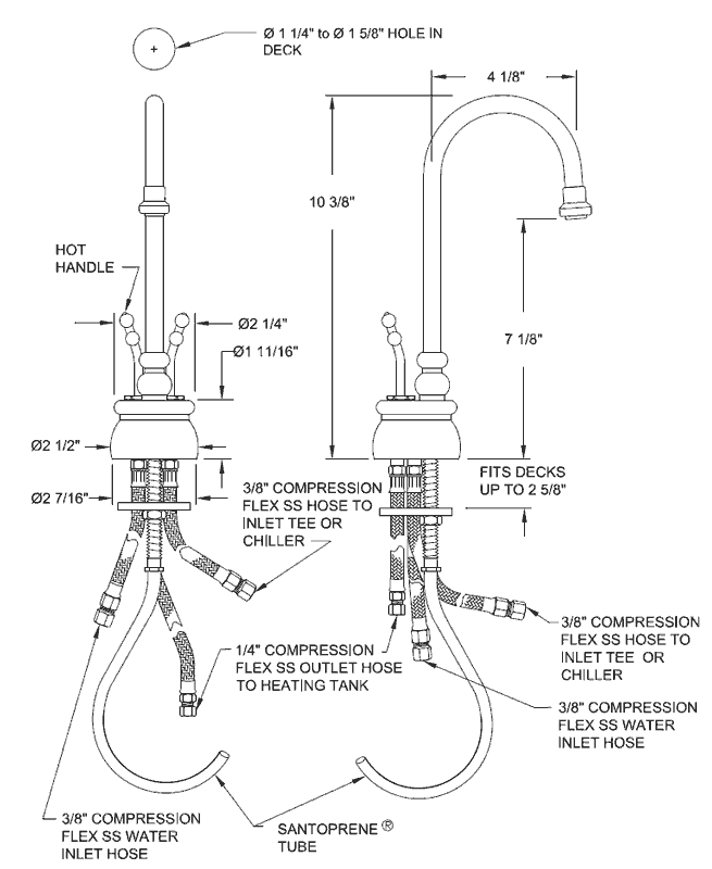 Point-of-use hot water dispenser faucets
