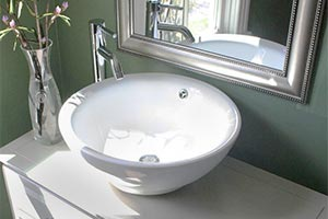 Nantucket round ceramic above-counter sink