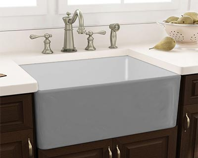 Gray Fireclay Single Bowl  Inch Kitchen Sink