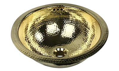 Nantucket round hammered brass bathroom sink in polished brass finish