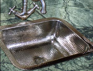 Beautiful hammered brass sink example