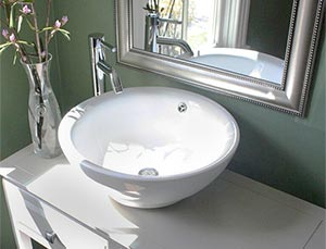 Stylish above-counter vitreous china sink example
