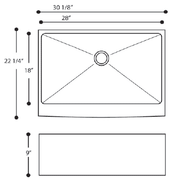 Farmhouse Sink Measurements : ... rubber padding bowl dimensions 28 x 18 x 10 overall dimensions