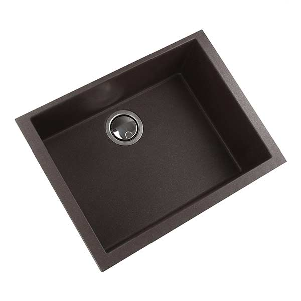 Nantucket granite composite single bowl kitchen sink in brown