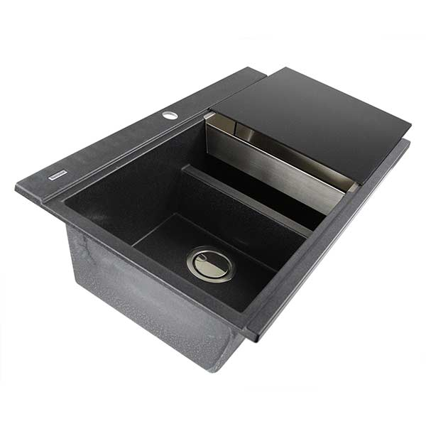 nantucket granite composite double bowl dropin kitchen sink in black black - Granite Composite Sinks