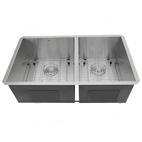 Zero Radius Offset Double Bowl Sink