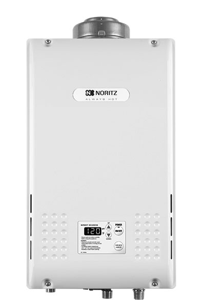Noritz tankless water heater NR83 angle view