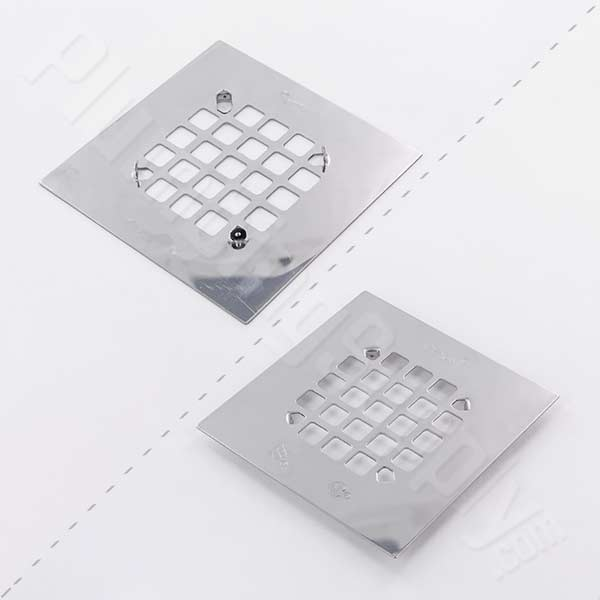 Oatey snap-in square shower drain cover in Chrome/Stainless