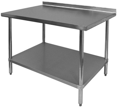 image of work table with backsplash - Stainless Steel Work Table With Backsplash