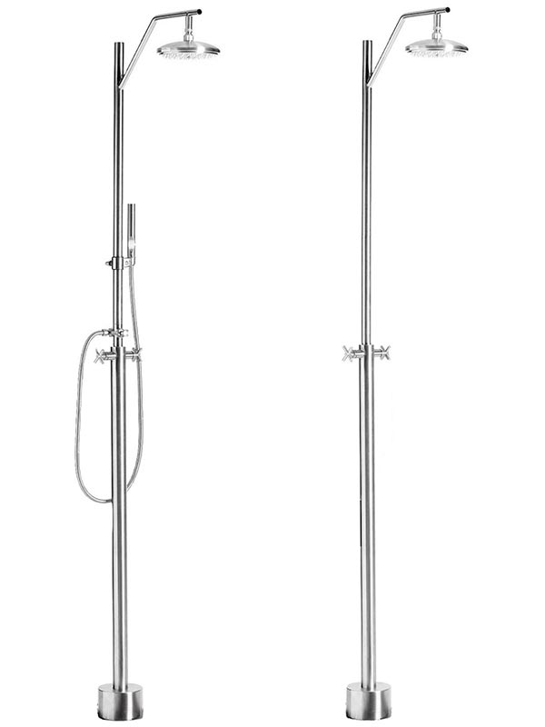 Hot and cold water shower shown with and without handshower