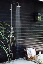 Wall mounted outdoor shower