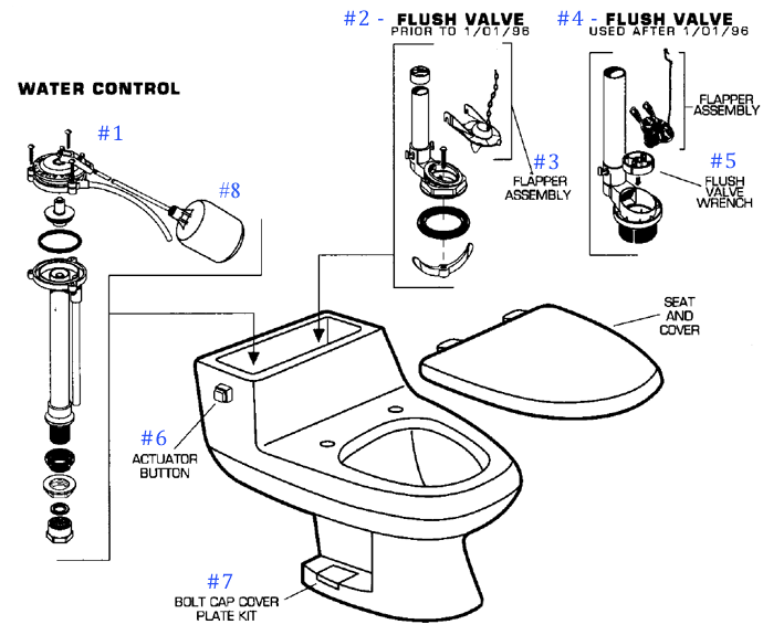 american standard toilet repair parts for ellisse series
