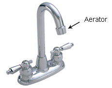 Photo of a faucet with the aerator pointed out Water Conserving Faucet Aerator Selection Information
