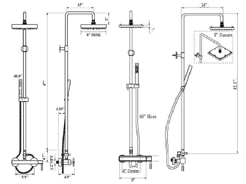 View Detailed Contemporary Pool Shower Specifications