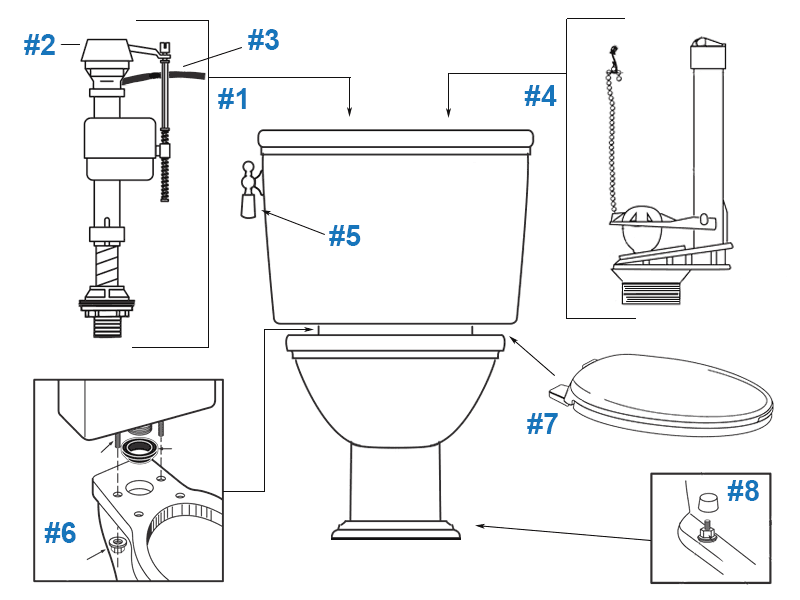 Repair parts diagram for Porcher Calla II one-piece toilet