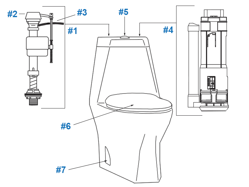 Repair parts diagram for Porcher Epic one-piece toilet