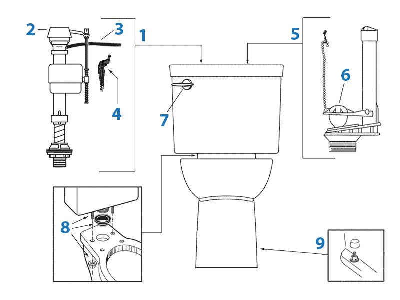 Repair parts diagram for Porcher Ovale two-piece toilet - tank #40750