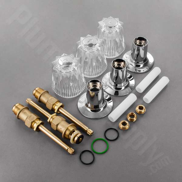 Windsor handle rebuild kit for 3 handle tub and shower with one piece escutcheon and sleeve