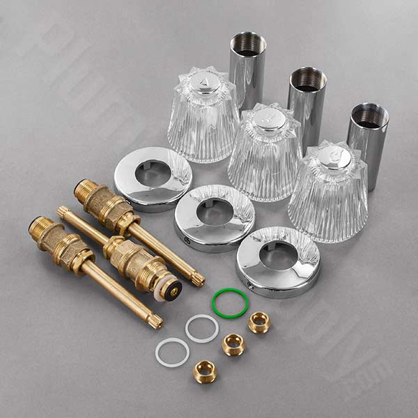 Windsor rebuild kit for three handle tub shower valve with 2-piece escutcheons and sleeves