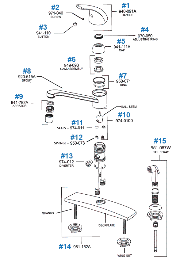 Price Pfister Single Control Kitchen Faucet Repair Parts