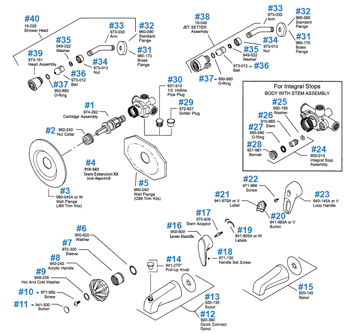 09 Series Tub Shower Parts
