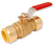 Integrated full port push connect ball valve