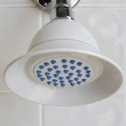 Easy clean bell shaped plastic shower head in white