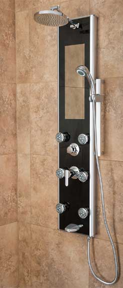 Leilani shower spa with black panel and integrated mirror