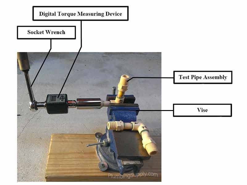 Vise and equipment set up example for torsion test