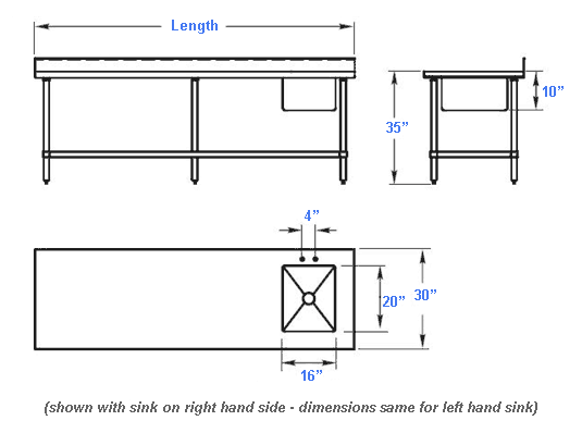 Some Assembly Required; View Detailed Prep Table With Sink Combination  Dimensions