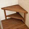 Teak corner-mounted bench with shelf