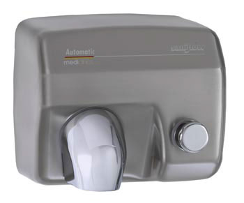Image of Classic Design Pushbutton Hand Dryer, shown in Satin Chrome