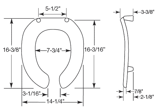 round toilet seat dimensions. View dimensions  112 32 Great looking commercial toilet seats for your high traffic restroom