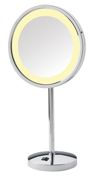 image of SeeAll LED pedestal mirror, shown in chrome