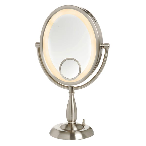 image of SeeAll pedestal mirror, shown in nickel