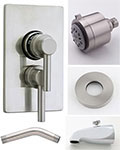 Jaclo Cylindrico thermostatic tub and shower system