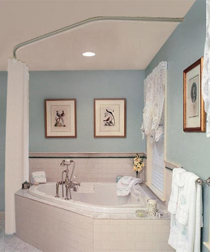 Neo Angle Shower Curtain Track Rod Installed With Corner Bathtub