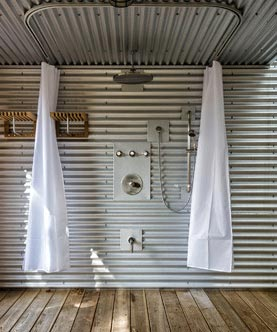 U Shaped Shower Curtain Track Rod Installed With Outdoor