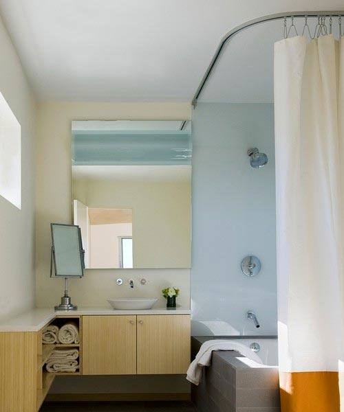 L Shaped Shower Curtain Track Rod Installed With Bathtub