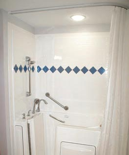 L Shaped Shower Curtain Track Rod Installed With Walk In Safety Tub