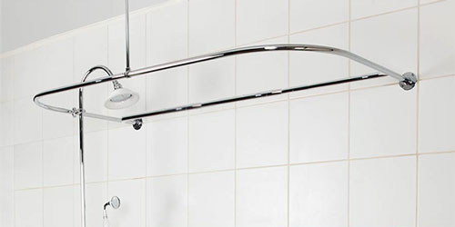 Example of D shaped shower curtain rod installedHow to Shower When You Only Have a Bathtub. Add Shower To Clawfoot Tub. Home Design Ideas