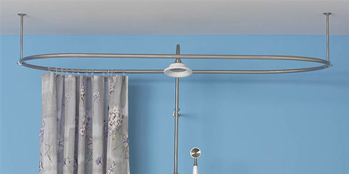 example of oval shower curtain rod to shower when you only have a bathtub