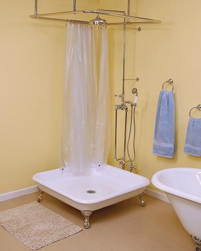 Add Shower To Clawfoot Tub. Shower pan with exposed shower How to When You Only Have a Bathtub
